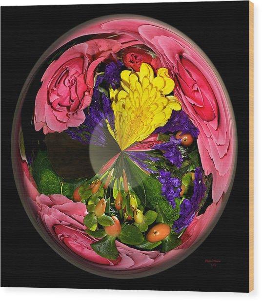 Pink Rose Globe Wood Print