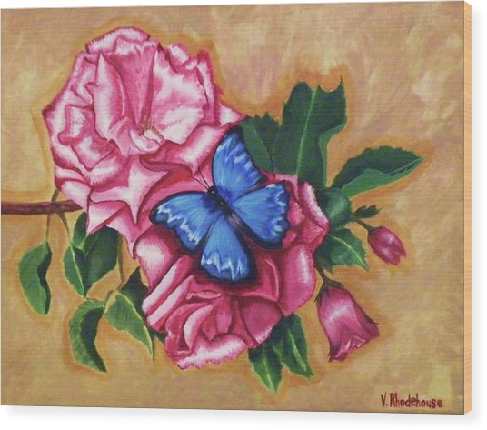Pink Rose Petals Wood Print