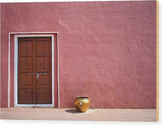 Pink Wall And The Door Wood Print