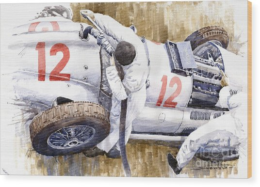 Pit Stop German Gp 1939 Mercedes Benz W154 Rudolf Caracciola Wood Print
