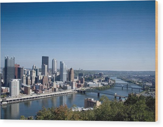 Pittsburgh Skyline And Allegheny River Wood Print by Everett
