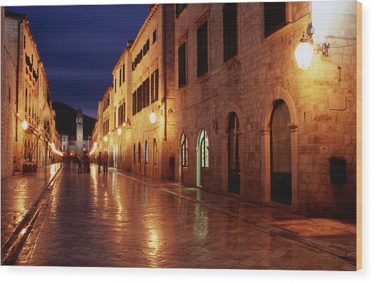 Placa At Twilight, Dubrovnik, Croatia Wood Print by Lonely Planet