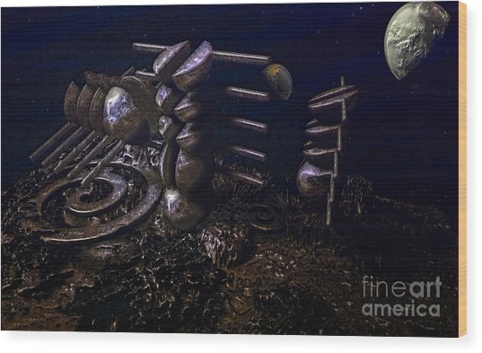 Planet Explorerstation Wood Print by Jan Willem Van Swigchem