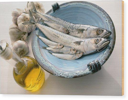 Plate Of Mackerel Wood Print by Erika Craddock