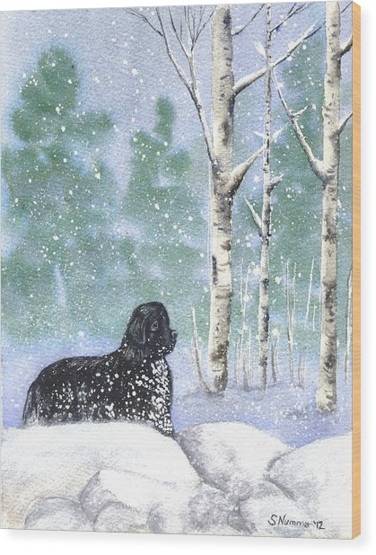 Playing In The Blizzard Wood Print