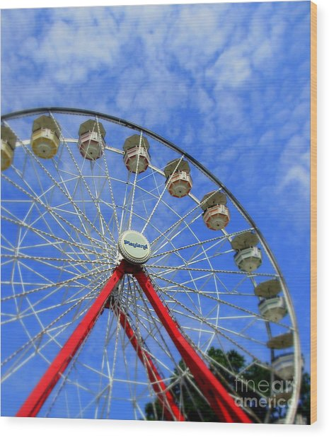 Playland Ferris Wheel Wood Print by Maria Scarfone