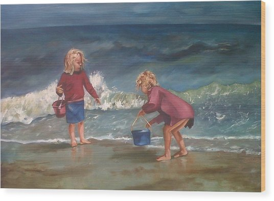 Playtime At The Beach Wood Print by Elani Van der Merwe