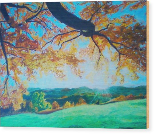 Pleasant Valley In Fall Wood Print by Samuel McMullen