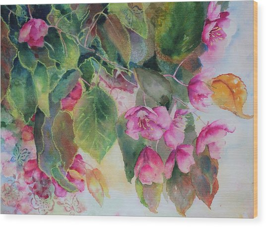 Wood Print featuring the painting Plum Blossom by Ruth Kamenev