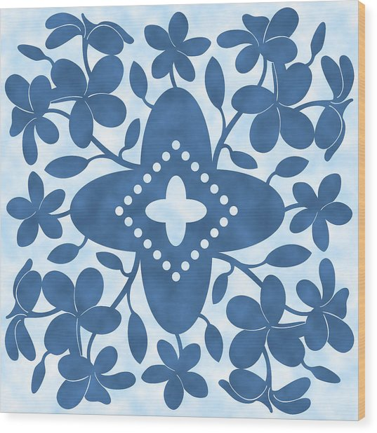 Plumeria Hawaiian Quilt Block Wood Print
