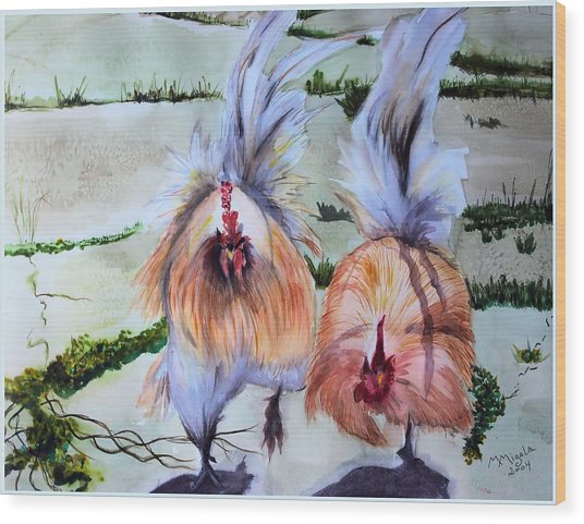 Plump Chickens Wood Print by Myrna Migala