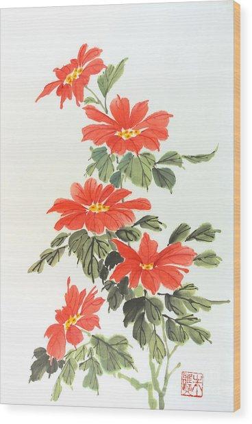 Poinsettias Wood Print by Yolanda Koh