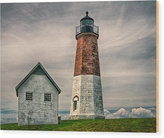 Point Judith Light Wood Print