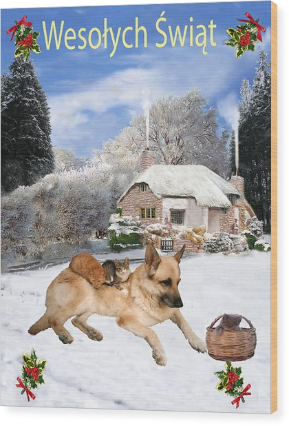 Polish German Shepherd Holiday Wood Print