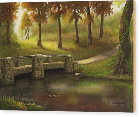 Pond Crossing Wood Print