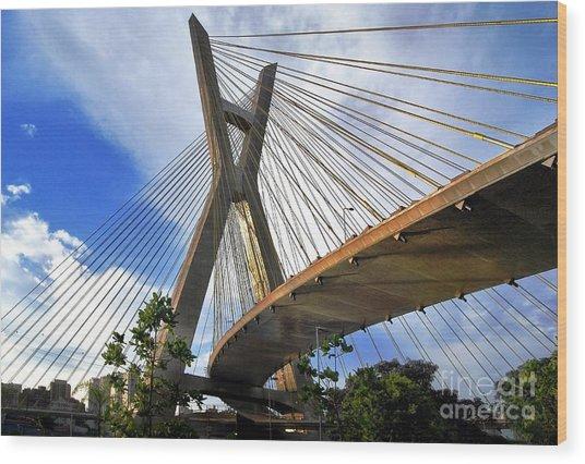 Ponte Estaiada Octavio Frias De Oliveira Ao Cair Da Tarde Wood Print