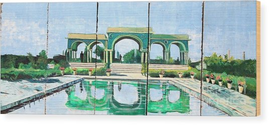 Poolside In Basrah Wood Print by Unknown - Local Iraqi National
