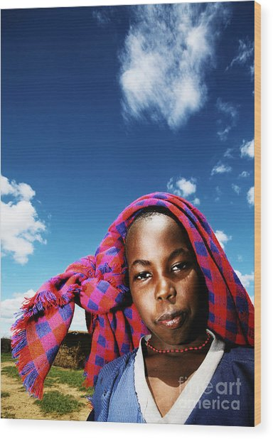 Poor African Child Outdoor Portrait Wood Print by Anna Om