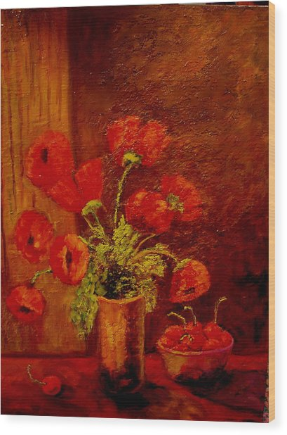 Poppies And Cherries Wood Print