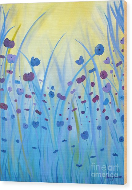 Poppies At Twilight Wood Print