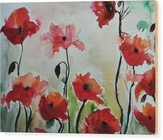 Poppies Meadow - Abstract Wood Print