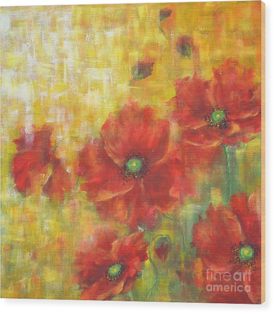 Poppies On A Sunny Day Wood Print
