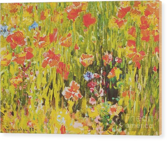 Poppies Wood Print by Pg Reproductions