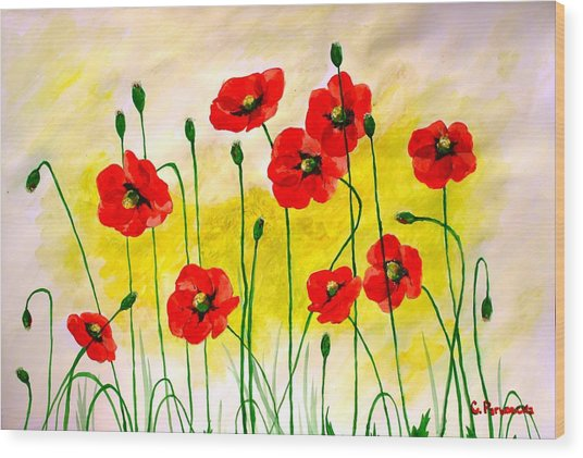 Poppies Wood Print by Sonya Ragyovska