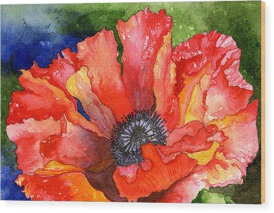 Poppy Wood Print by Eunice Olson
