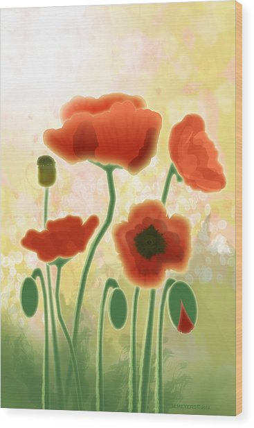 Poppy Mountain Meadow Wood Print by Melisa Meyers