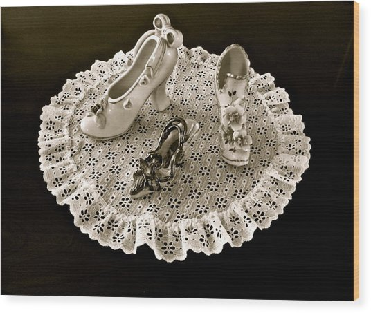 Porcelain And Lace Wood Print