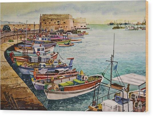 Port Of Heraklion Wood Print