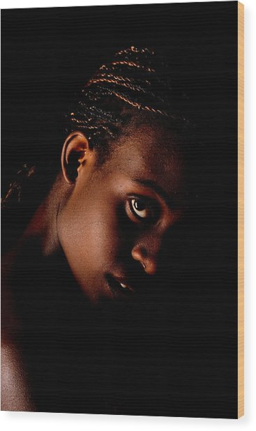 Portrait Of A Black Woman Wood Print