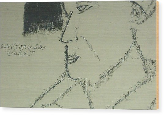 Portrait Of A Shopkeeper Bust Wood Print by Samson Agegnehu