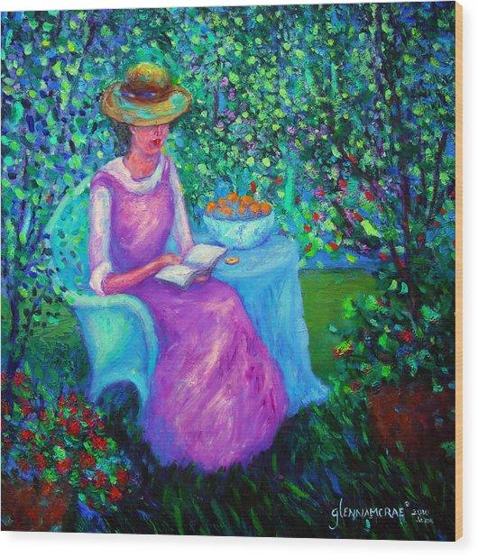 Portrait Of Ellsabeth In Her Garden Wood Print
