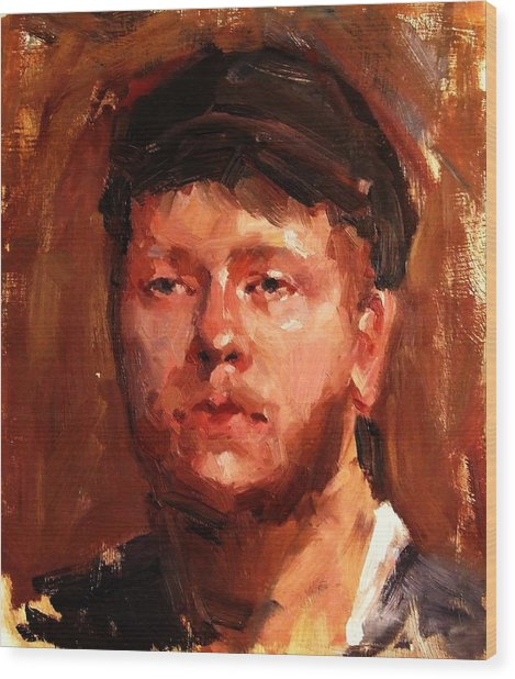 Portrait Of Irish Fisherman With Weary Sad Eyes And Hard Work Face Deep Lines And Lost Souls Cap Wood Print