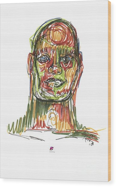 Portrait Of Man Wood Print by Carol Rashawnna Williams