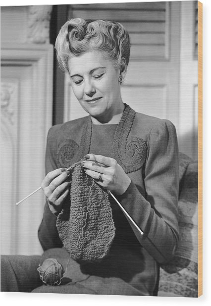 Portrait Of Mature Woman Crocheting Wood Print by George Marks