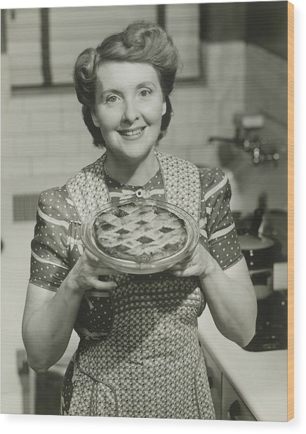 Portrait Of Mature Woman Holding Pie Wood Print by George Marks