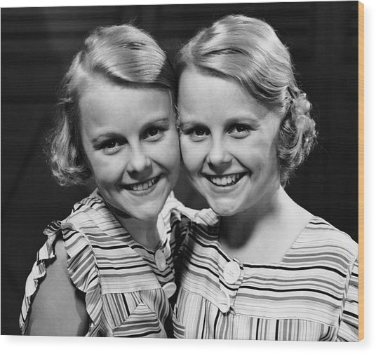 Portrait Of Twin Girls Indoor Wood Print by George Marks