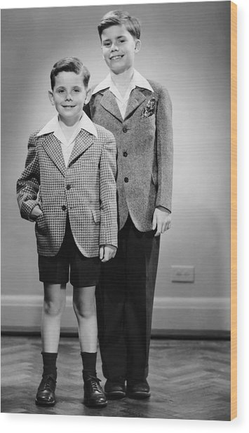 Portrait Of Two Boys Indoor Wood Print by George Marks