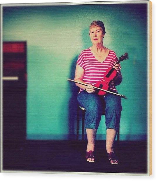 #portrait #pinup #studio #violin #music Wood Print