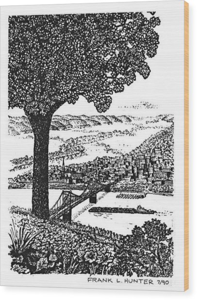 Portsmouth Ohio From A Kentucky Hill Wood Print