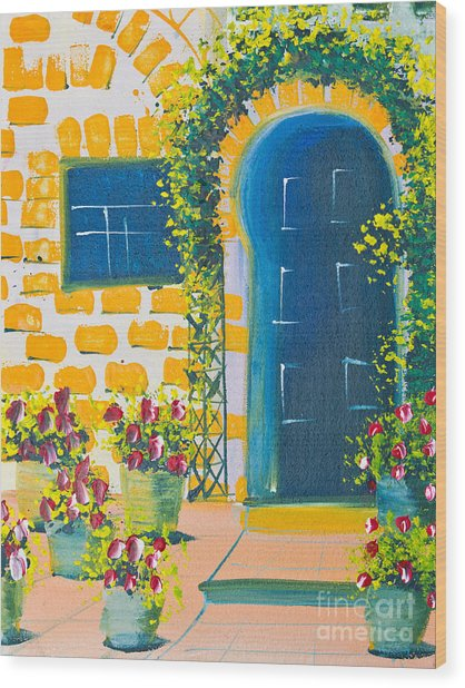 Poster Color Drawing Door And Flowers Wood Print by Mongkol Chakritthakool