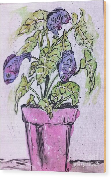 Potted Fish Wood Print
