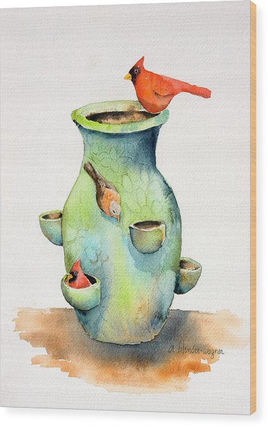 Pottery Vase And Birds Wood Print