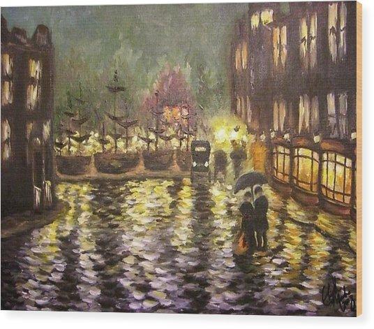 Pouring Rain Wood Print by Elizabeth Marks