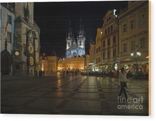 Prague City Square Wood Print