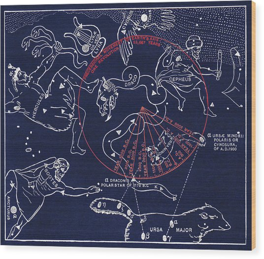 Precession Of The North Celestial Pole Wood Print by Sheila Terry