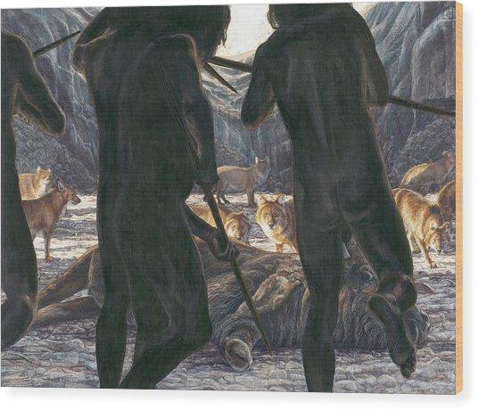 Prehistoric Human-animal Competition Wood Print